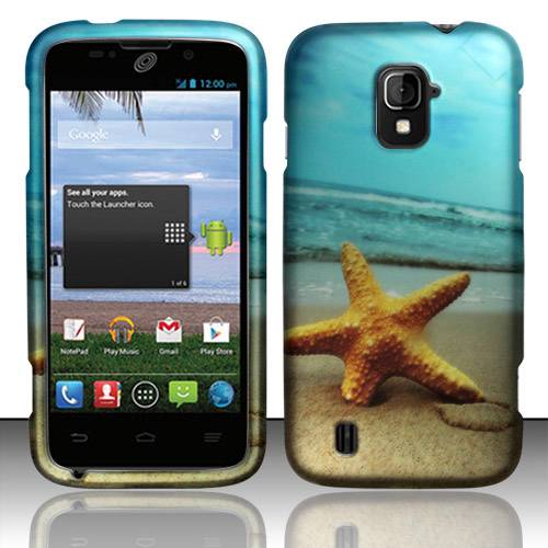 FOR ZTE MAJESTY Z796c HARD RUBBERIZED CASE PHONE COVER BEACH STAR FISH