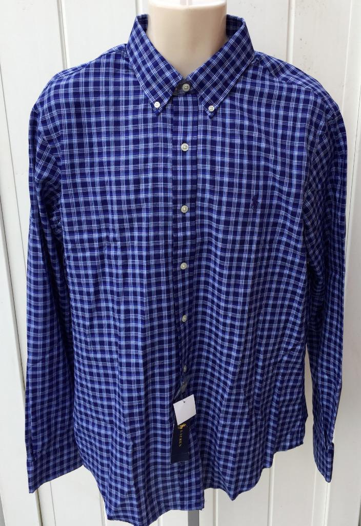 Ralph lauren mens polo sport shirt button front blue navy for Navy blue plaid shirt