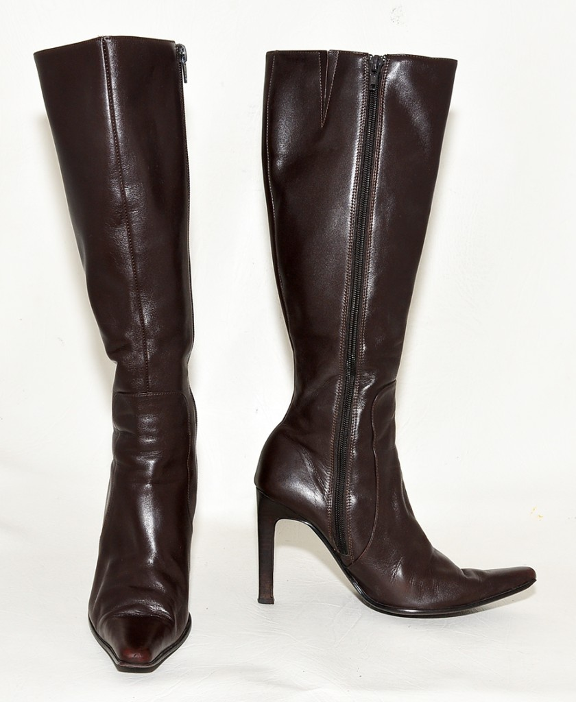sachi brown leather pointed toe knee length boots for