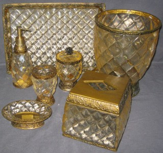 7 pc crystal bell gold quilted bathroom accessories set for Gold bathroom accessories sets