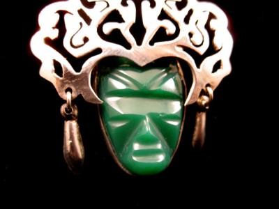 TAXCO MEXICO STERLING SILVER GREEN ONYX AZTEC MASK BROOCH PIN