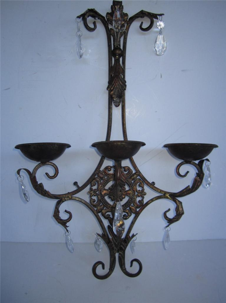 Old World Crystal Candle Holder Sconce Wall Hanging Plaque Patina bronze copper eBay