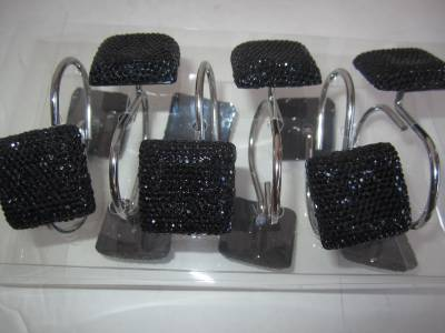 Black rhinestone shower curtain hooks bling bath accessory for Bling bathroom set