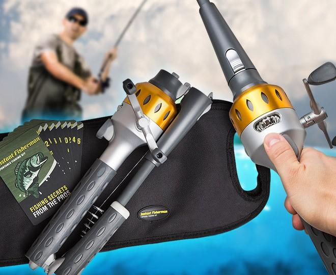 Instant fisherman v2 telescopic folding fishing rod reel for Foldable fishing rod