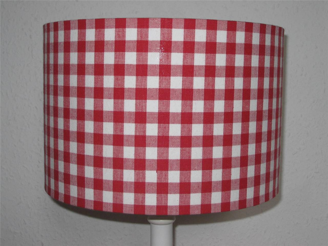 Red Gingham Lamp Shade: Lamp Shades For Country Home Decor By Raghu The Weed Patch,Lighting