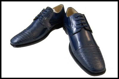 s liberty navy blue lizard print leather dress shoes l 646