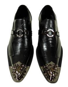 new s fiesso black pointed metal toe slip on shoes