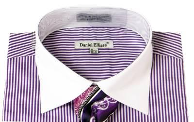 Mens daniel ellissa striped purple dress shirt french for Purple french cuff dress shirt