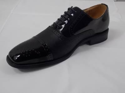 s masimo black shiny faux patent leather lace up