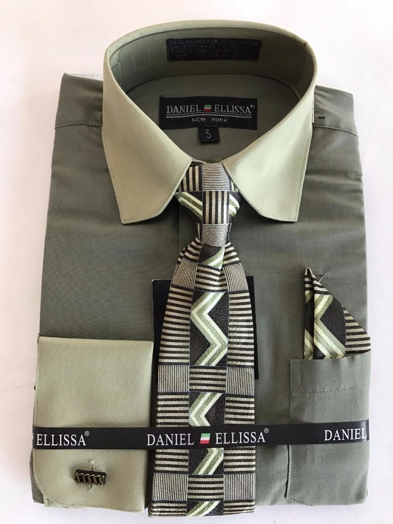 New Daniel Ellisa Boys Two Tone French Cuffs Fashion Dress