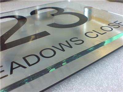 modern house number sign plaque aluminium acrylic ebay. Black Bedroom Furniture Sets. Home Design Ideas