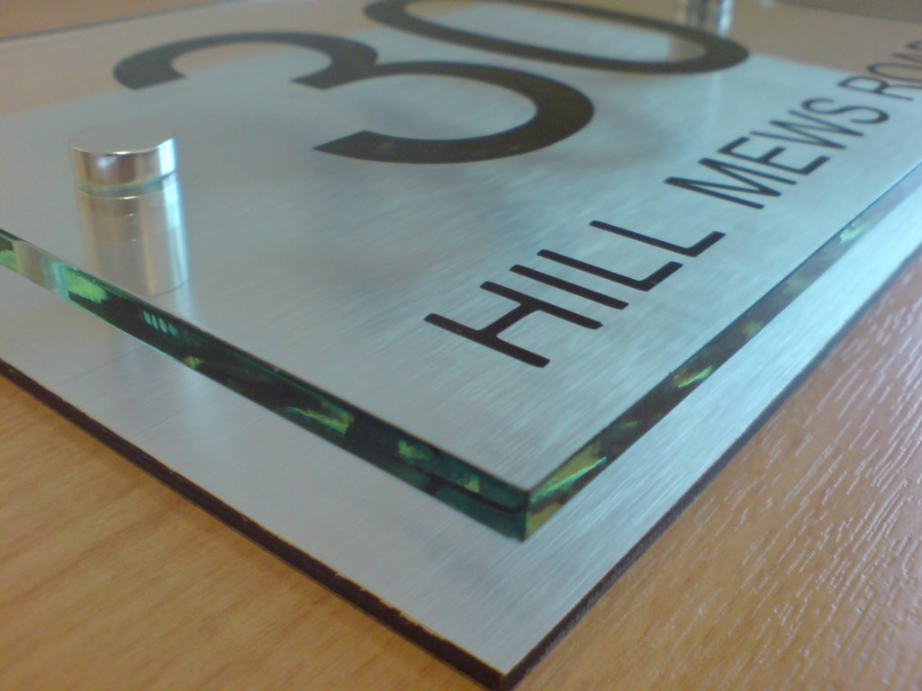 House number sign plaque modern aluminium glass effect ebay for Modern house number plaques