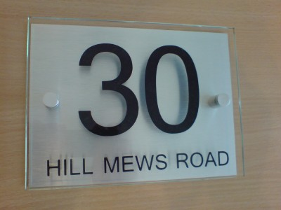 House Number Door Sign Plaque Modern Aluminium And Glass