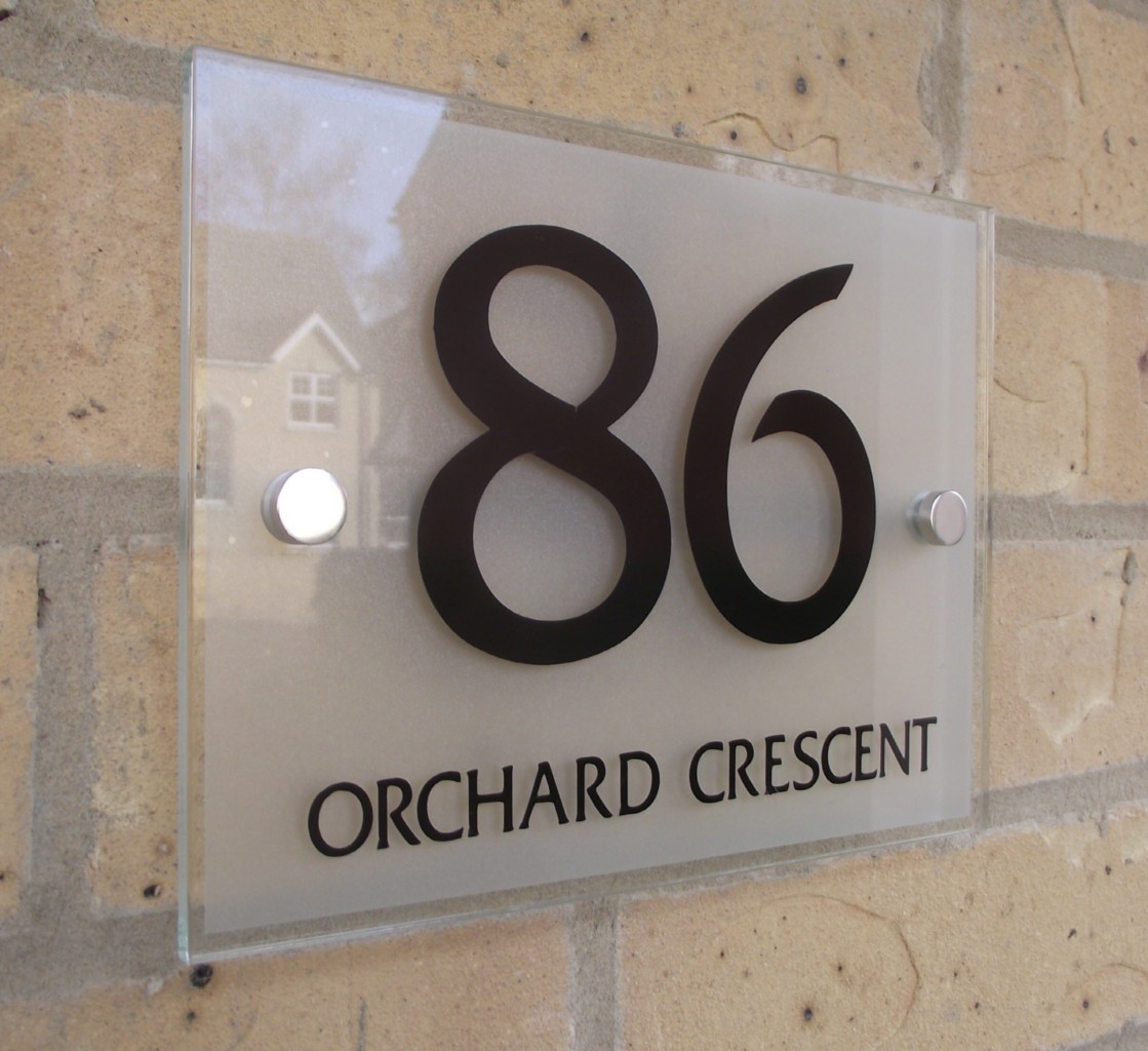 House number sign plaque modern frosted glass effect ebay for Modern house number plaques