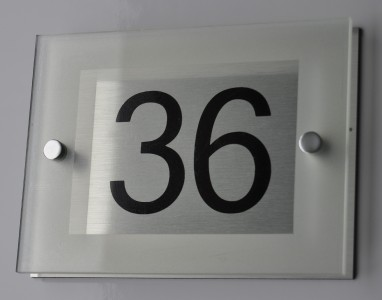 Modern House Sign Number Plaque Aluminium Acrylic Etched Glass