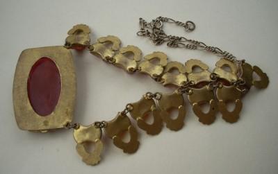 FINE Vtg Art Deco Egyptian Czech Glass & Enamel Necklace