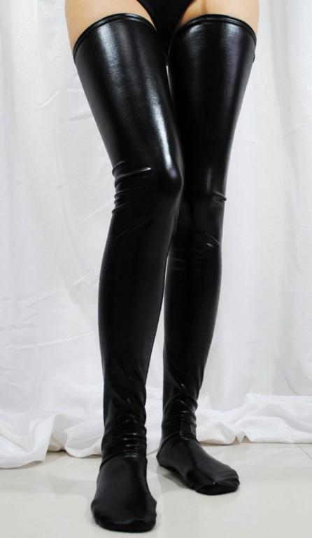 Crossdresser Sissy Red Or Black Faux Leather Wet Look Vinyl Fetish Stockings