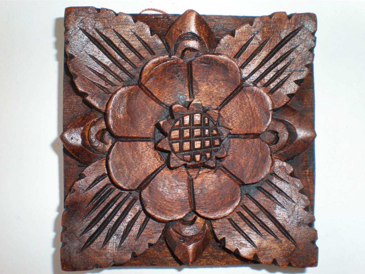 Bali traditional floral hard wood carved wall hanging