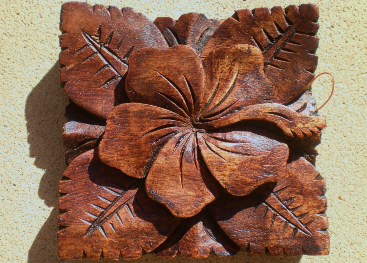 Bali hibiscus hard wood carved wall hanging balinese