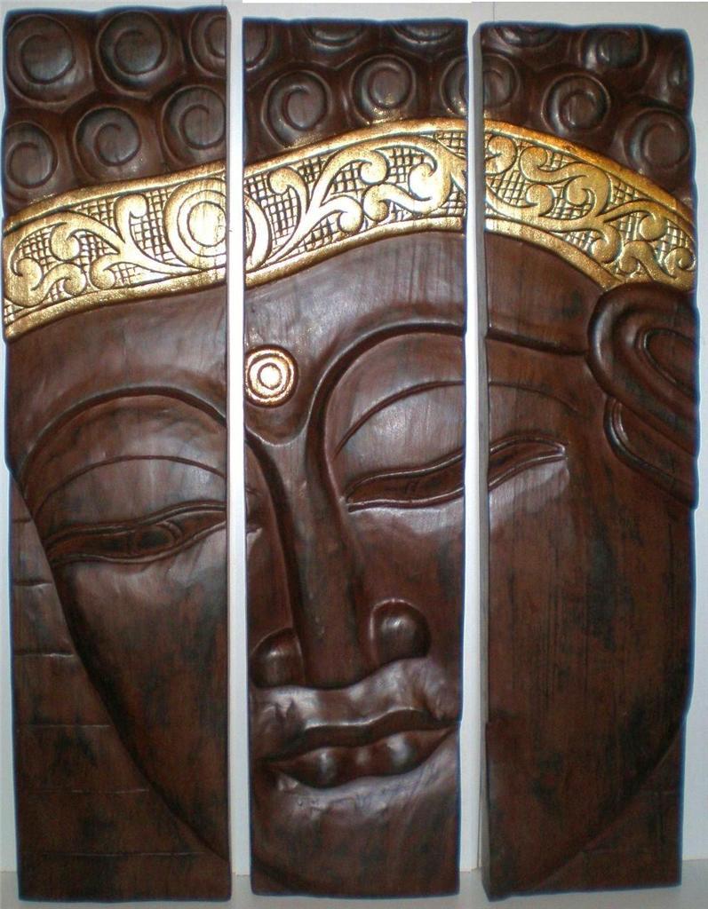 Bali pce buddha face wood carving wall art hanging panel