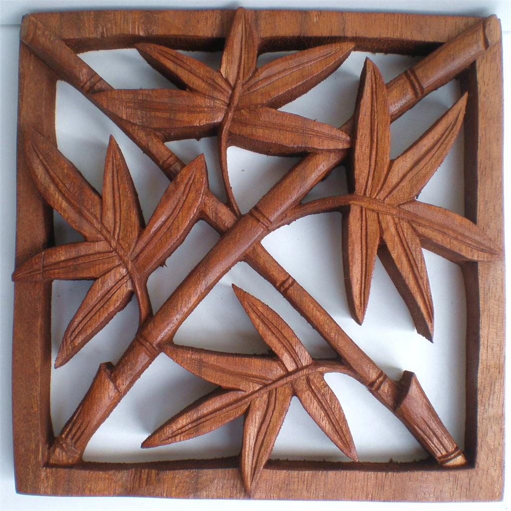 Bali bamboo leaf wood carved wall art relief hanging