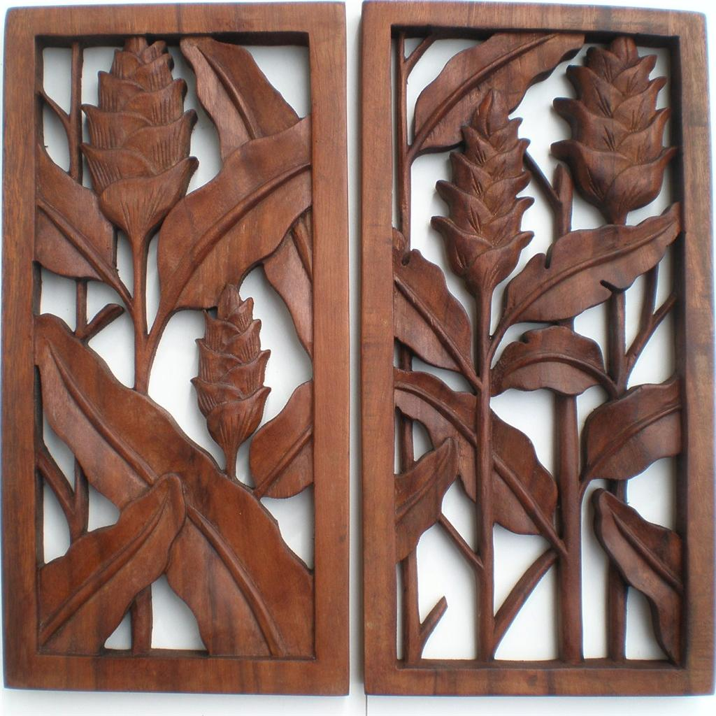 Bali Set 2 Heliconia Ginger Flower Wood Carved Wall Art