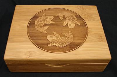 Swimming Koi Fish Engraved In Bamboo Tea Box sold on eBay