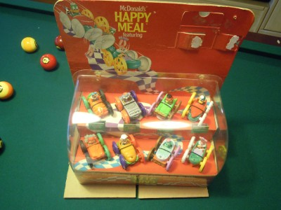 Mcdonalds tiny toons flip cars happy meal counter display 1990 w toys
