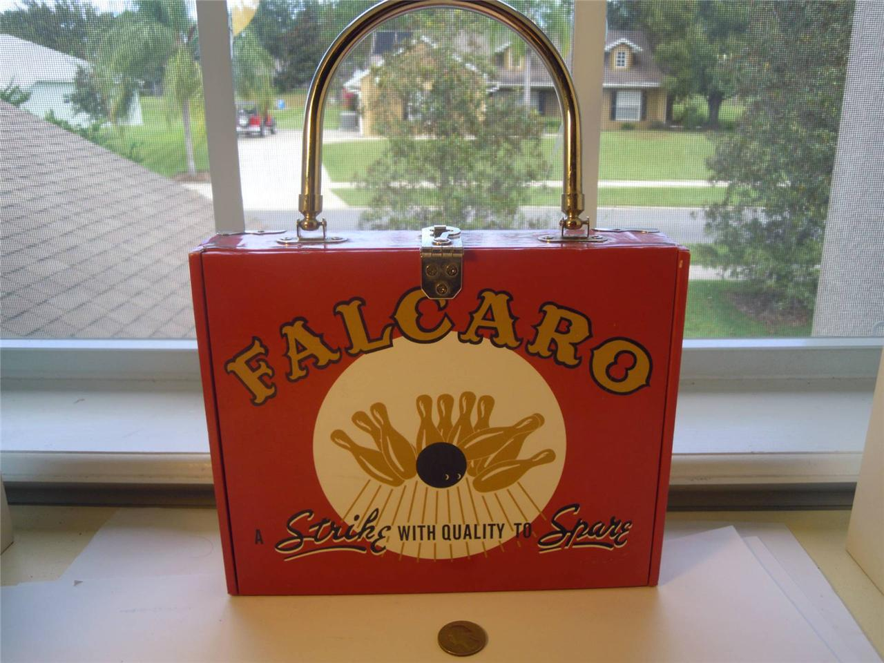 Vintage-FALCARO-CIGAR-box-Lined-purse-Collectible-RARE-Rhinestones-Bowling
