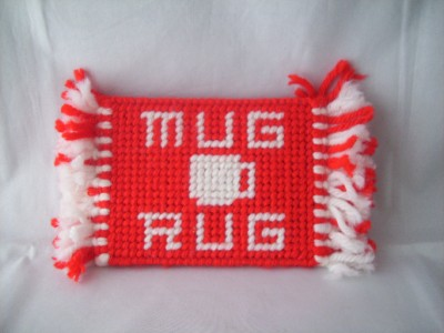 Mug Rug Handmade With Plastic Canvas And Yarn Neat Ebay