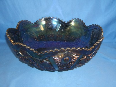 Vintage Imperial Hobstar Purple Carnival Glass 10 Bowl