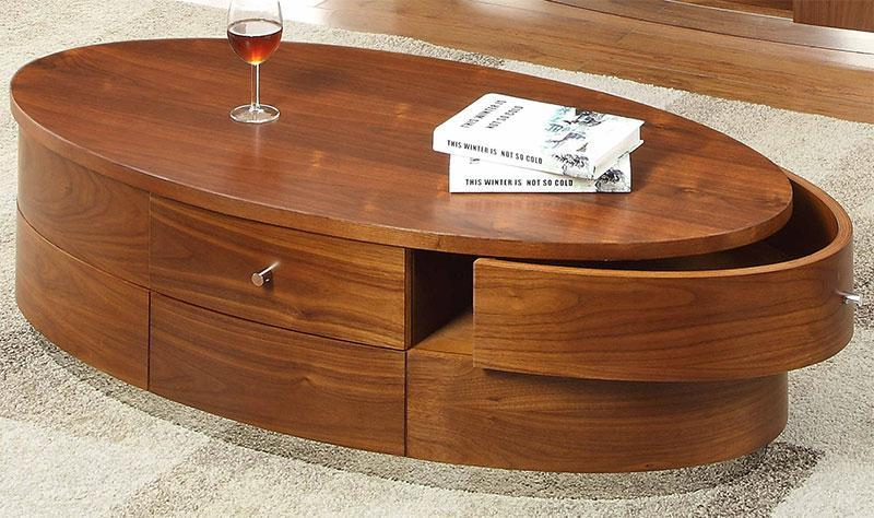 contemporary oval 3 drawer coffee table in walnut wood