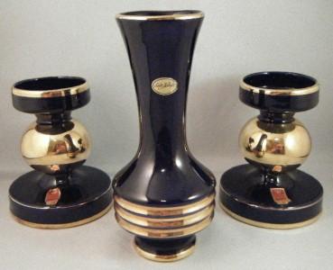 halbach geschenke echt kobalt cobalt blue gold bud vase 2 candle holder set. Black Bedroom Furniture Sets. Home Design Ideas