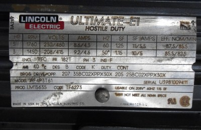 Lincoln Electric Ultmate E1 Hostile Duty 3hp Ac Motor
