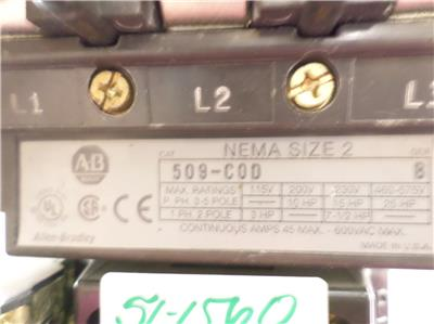 Allen Bradley Series B Size 2 Starter 509 Cod W 40185 800