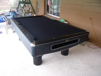 Clean Black Pool Table With Chrome Trim Billiards Stick Ebay