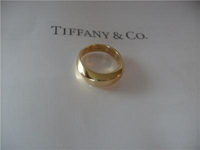 Curved Diamond Wedding Bands on Tiffany   Co  18k Y G Wedding Band Ring Curved Design   Ebay