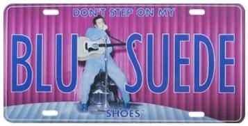 Elvis-Presley-Blue-Suede-Shoes-Collectable-Metal-Tin-License-Plate-Sign