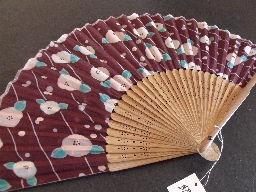 Japanese Sensu Silk Hand fan w/ Case Purple Flower Ptn