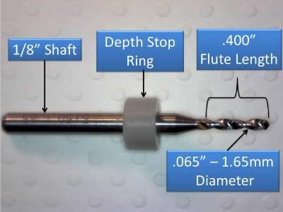 """1//8/"""" Shank Carbide Drill Bits FIVE Pcs Wood Plastic Metal cnc R 1.65mm .065/"""""""