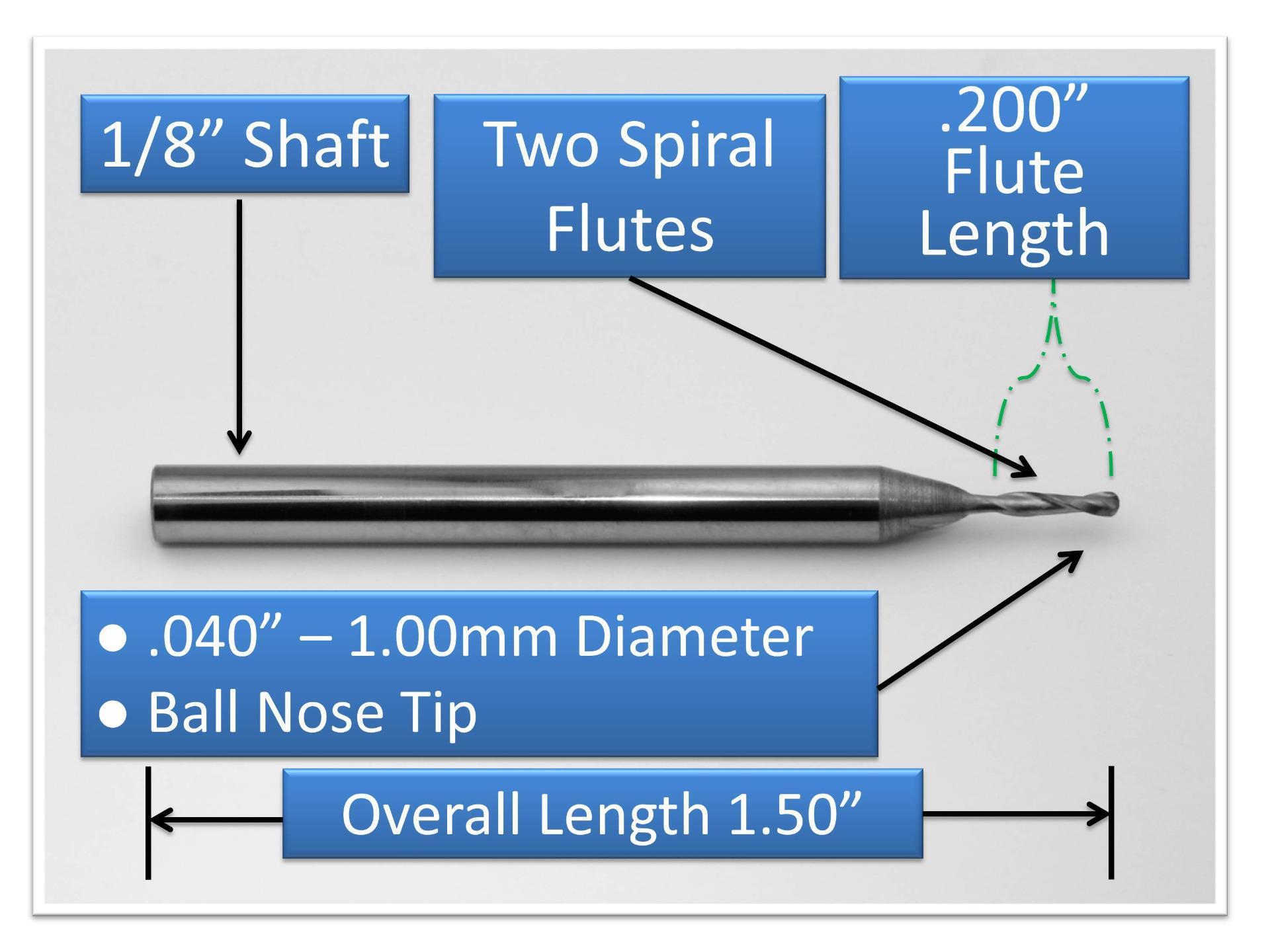 "1.00mm .040"" ball nose endmill"