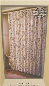 SHOWER CURTAIN CHATEAU PINK BLUE GOLD FLOWERS EBay