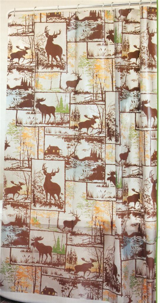 SHOWER CURTAIN ADIRONDACK BROWN GRAY GOLD DEER ELK MOOSE 70 X 72 EBay