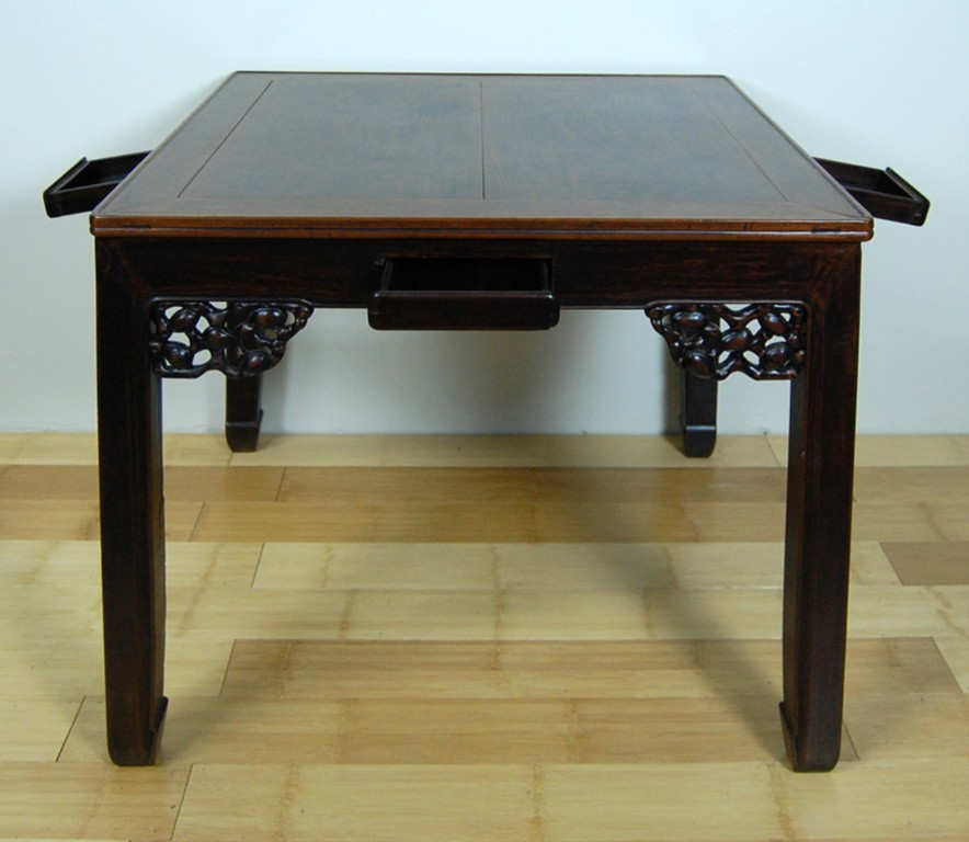 Antique mah jong dining table asian chinese w drawers ebay for Oriental dining table