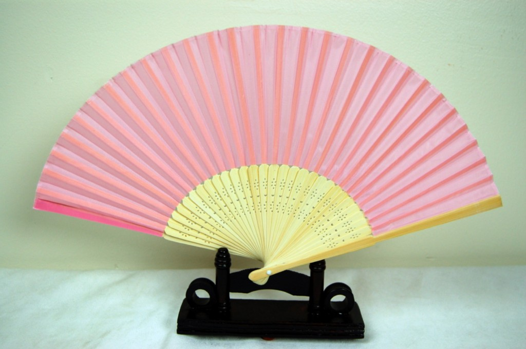pink silk bamboo fan this is a beautiful high quality chinese fan