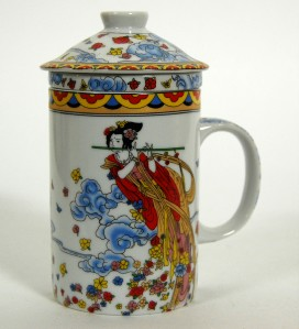PORCELAIN BUTTERFLY FAIRY TEA CUP filter mug chinese