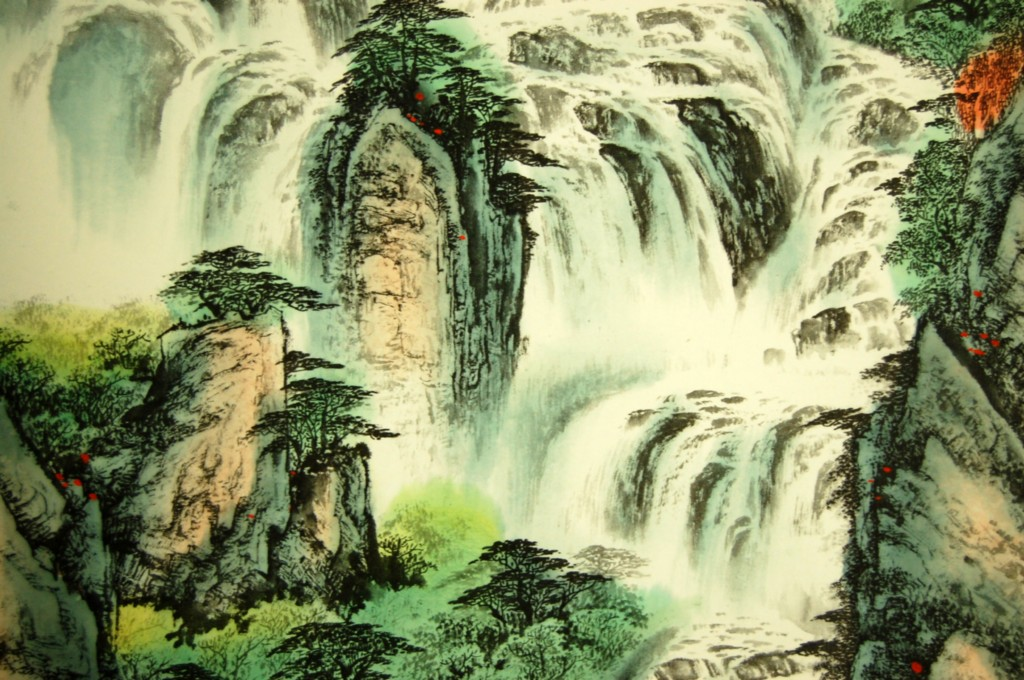 scroll wall art waterfall feng shui chinese decor gift ebay. Black Bedroom Furniture Sets. Home Design Ideas
