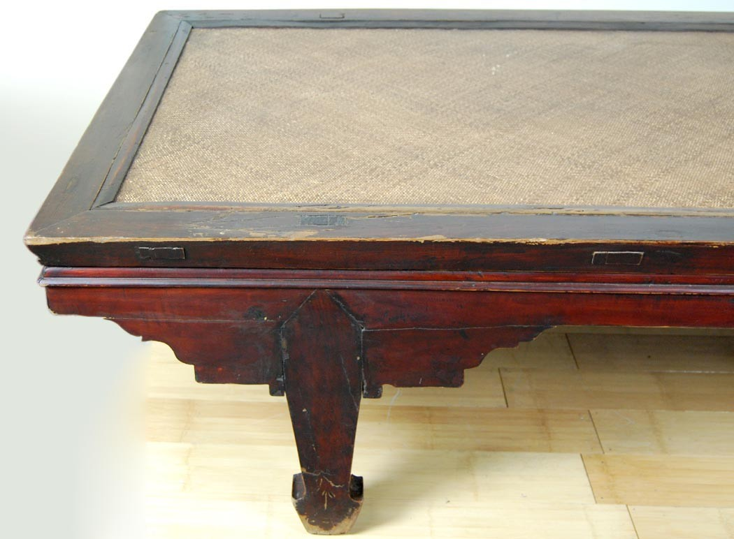 Antique Chinese Day Bed Elm Wood Frame Wicker Rattan Mat