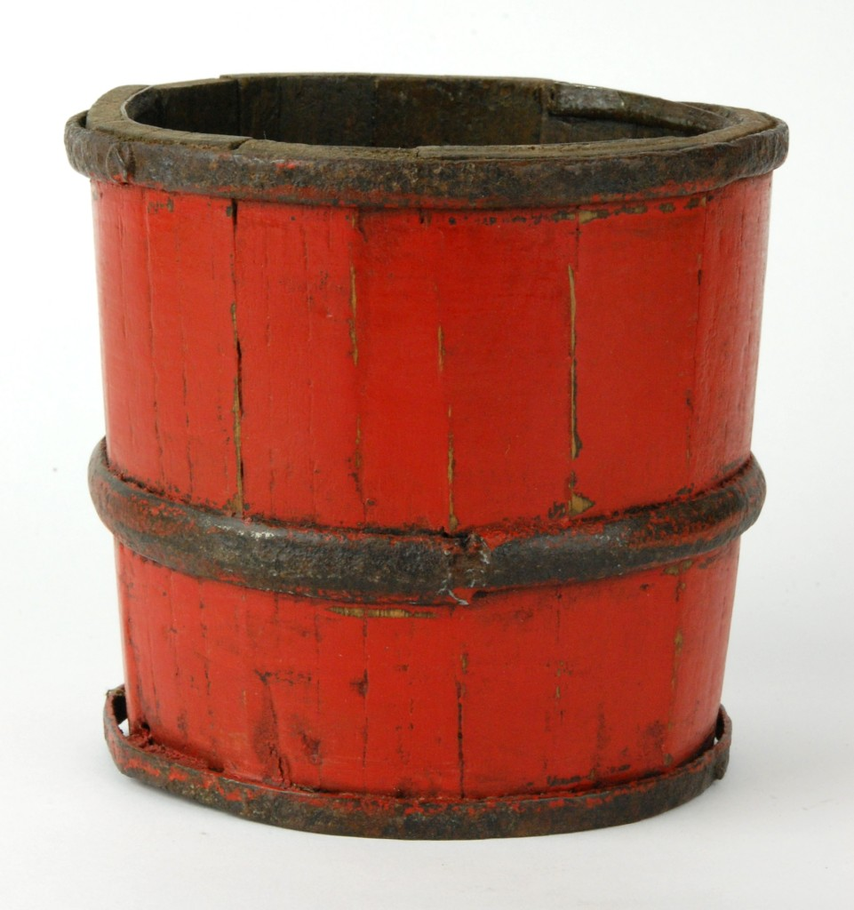 ANTIQUE WOOD RED LACQUER RICE BUCKET Basket Chinese | eBay