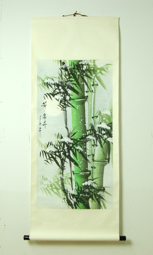 Scroll art color bamboo wall hanging decor chinese a ebay for Bamboo wall art
